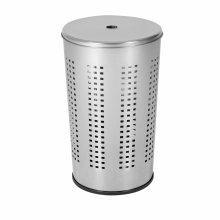 axentia Compact Chromed Metal Laundry Bin with Lid, Laundry Storage Bin Basket with Ventilation Holes, 50 l Capacity, approx. 36 x 36 x 58 cm, Silver
