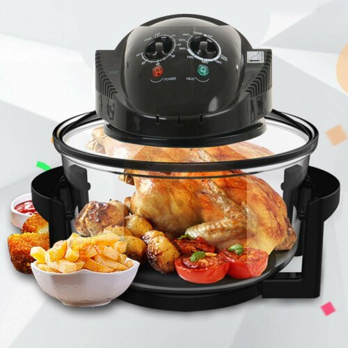 12L Litre Black Portable Halogen Convection Oven Cooker 1400W