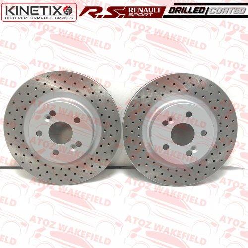 For Renaultsport Clio Sport MK3 197 200 Front Kinetix Drilled Brake Discs TX095