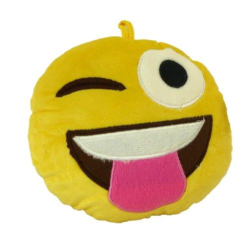Emotives Round Plush Cushion - 19cm - Winking with Tongue Out