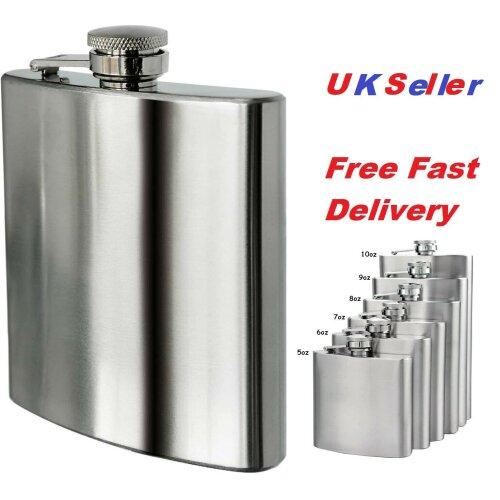 New Silver Stainless Steel Hip Flask Drink Whiskey Vodka Case Pocket Gift 5 oz 6 oz 7 oz 8 oz