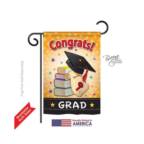 Breeze Decor 65064 School & Education Congrats Grad 2-Sided Impression Garden Flag - 13 x 18.5 in.