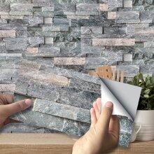 3D Dark Grey Brick Tile Sticker Self-adhesive Wall Stickers Kitchen Bathroom Decor