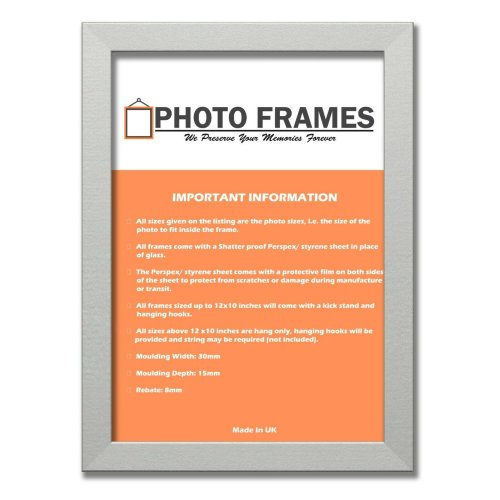 (Silver, A2-594x420mm) Picture Photo Frames Flat Wooden Effect Photo Frames