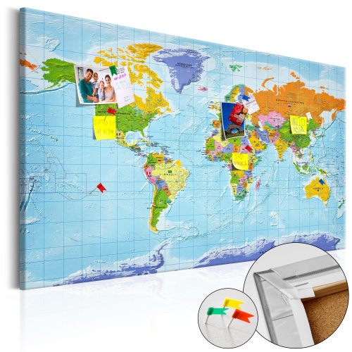 Decorative Pinboard - World Map: Countries Flags [Cork Map]