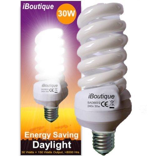 "iBoutique Edison Screw ""E27"" Daylight Energy Saving Light Bulb, Glass, 30 W"