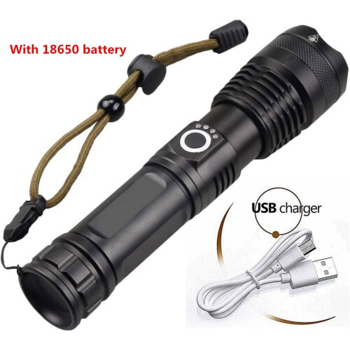 High Power 900000 XHP50 Zoom Flashlight Rechargeable Torch Headlamp