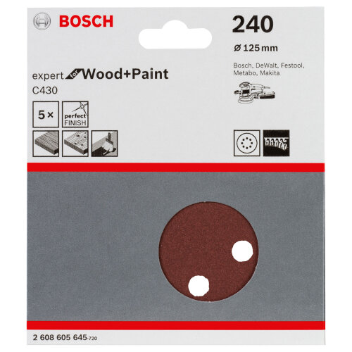 Bosch 2608605645 Orbital Sandpaper Hook & Loop Perf. 240 G Ø 125mm for Wood 5pk