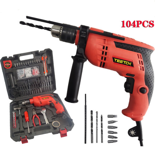 Heavy Duty Electri Hammer Drill Impact 650W Variable 6Speed 104Pc+Case