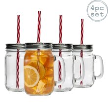 4 Mason Glass Jam Jar Drinking Cocktail Glasses with Straw & Lid, 450ml