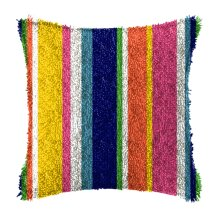 """Latch Hook Complete Cushion Cover Kit """"Stripes""""43x43cm"""