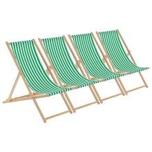 Wooden Deck Chair Folding Garden Beach Seaside Deckchair Green White Stripe x4
