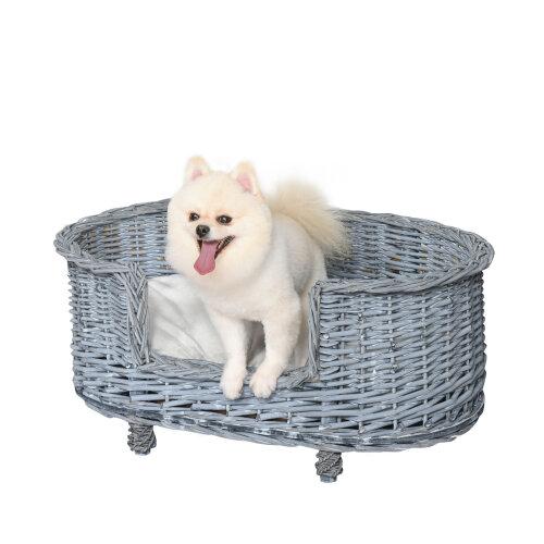 PawHut 70x40cm Woven Wicker Dog Bed Basket Pet Cat Sofa w/ Cushion Small Grey