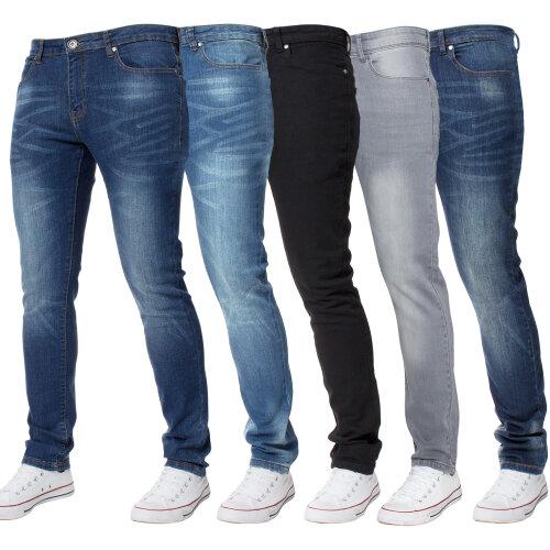 Kruze Mens Skinny Stretch Jeans Slim Fit Denim Pants