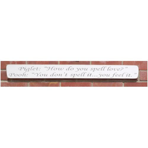 Handmade wooden quote living room Pooh & Piglet spell Love Sign
