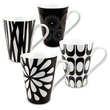 Konitz Assorted Mugs Black/White Set of 4