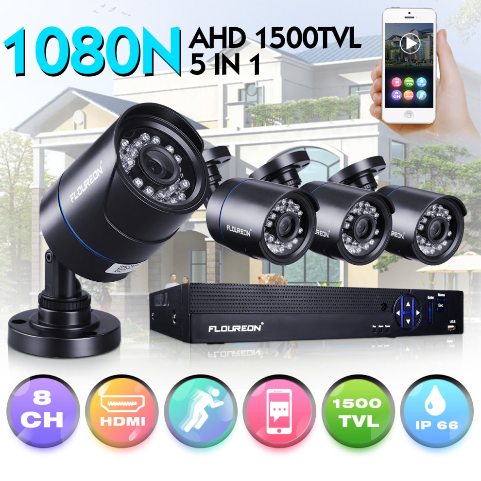 US 8CH 1080P 5in1 DVR 1500TVL In// Outdoor Night Vision Security Camera System BE