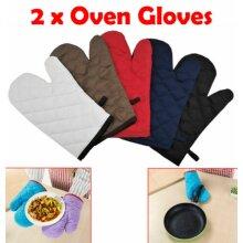 2 Pair Oven Cotton Gloves Kitchen Cooking Pot Holder Thick Heat Resistant Mitt Mittens ,BBQ Gloves,Baking Glove