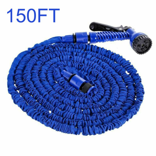 (Blue, 150FT) Heavy Duty Expandable Garden & Carwash Magic Hose Pipe Spray Gun