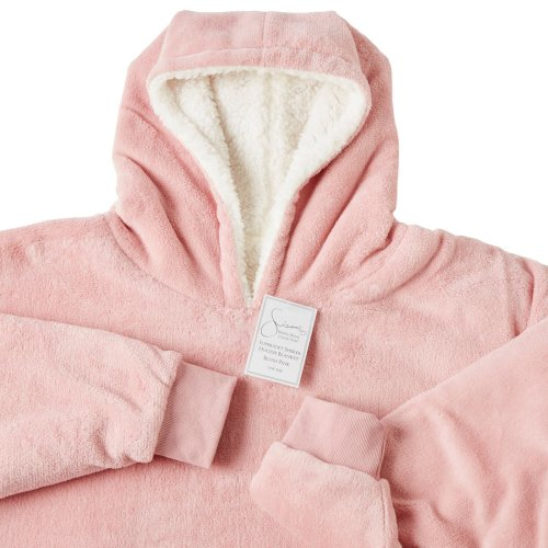 (Blush Pink, One Size Fits All - Adults Kids Men Women) Sienna Oversized Plush Blanket Hoodie   Blanket Jumper With Front Pocket