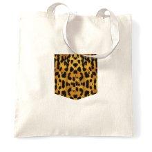 Hipster Tote Bag Leopard Print Fake Pocket Cat Swag Fun Printed