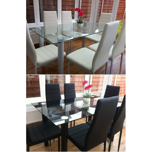 Kitchen dining table and 6 faux leather chairs