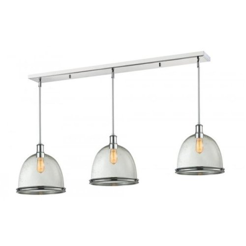 Zlite 719P13-3CH Mason 3 Light Island & Billiard Light in Chrome with Clear Seedy Shade