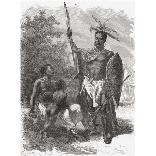 A Native of Ougogo, Central Africa, In War Dress In The 19th Century From El Mundo En La Mano Published 1878 Poster Print, 26 x 34 - Large