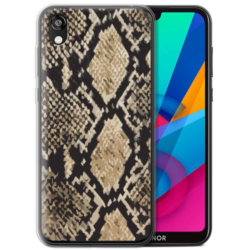 (Snake Skin Effect) Fashion Animal Print Pattern Huawei Honor 8S/Y5 2019 Phone Case Transparent Clear Ultra Soft Flexi Silicone Gel/TPU Bumper Cover