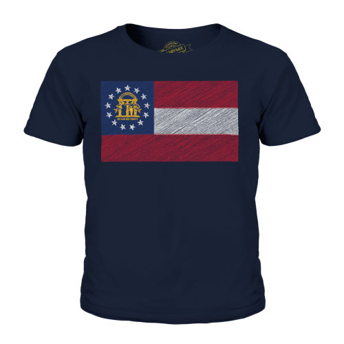 Candymix - Georgia State Scribble Flag - Unisex Kid's T-Shirt