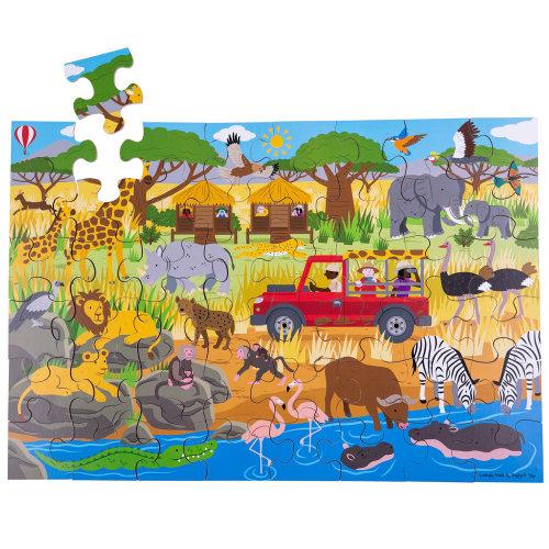 Bigjigs Toys Children's Wooden African Adventure Floor Jigsaw Puzzle (48 Piece)