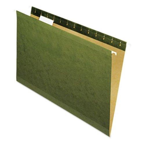 Reinforced 100% Recycled Hanging Folder- 1/5 Cut- Legal- Standard Green- 25/Bx