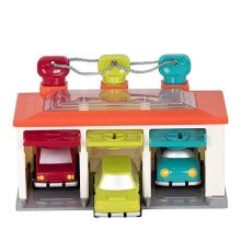Battat BT2633Z Shape Sorting Garage with Keys and 3 Toy Cars for Toddlers 2 Years + (5-Pcs)