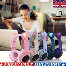 Wireless Portable Cat Ear Headphones Bluetooth Headset LED Lights For Kids/ Girl