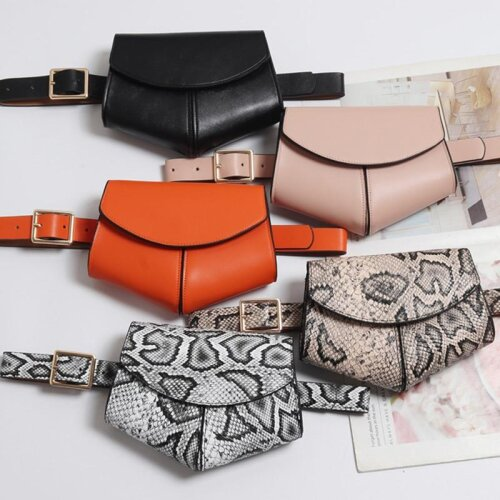 2019 New Fanny Pack Women Waist Belt Bag serpentine Vintage Waist Bags Girl Fashion Bum Pouch Phone Leather Chest Packss LW0808