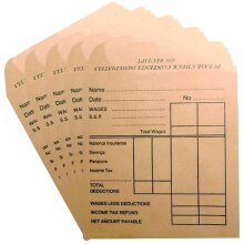 Wage Packets Envelops 80 Packs Brown Color with Space for Name Date