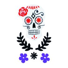 TRIXES Purple Skull Floral Halloween Window Decorations - Gel Clings