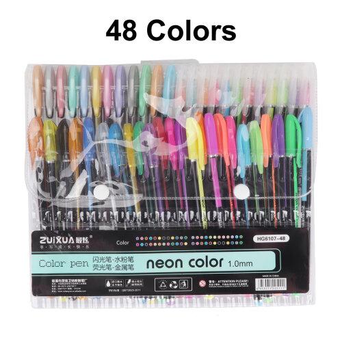 48 Gel Pen Set Metallic Pastel Glitter Neon Pens Adult Colouring Book