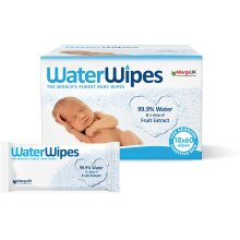 WaterWipes Baby Wipes, 99.9% Water, Unscented, Sensitive, Newborn Skin, 1080 Wet Wipes (18 Packs of 60 Wipes)