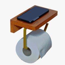 HAMMAM Toilet Roll Holder with Phone Holder- Wooden Shelf Brushed Gold