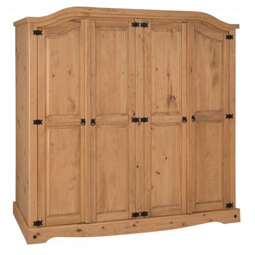 Corona 4 Door Arch Top Wardrobe Solid Pine Storage Bedroom Furniture