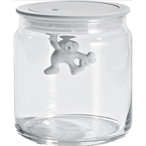 A Di Alessi Glass Gianni Jar A Little Man Holding On Tight Small Kitchen Box with Hermetic Lid in Thermoplastic Resin, White