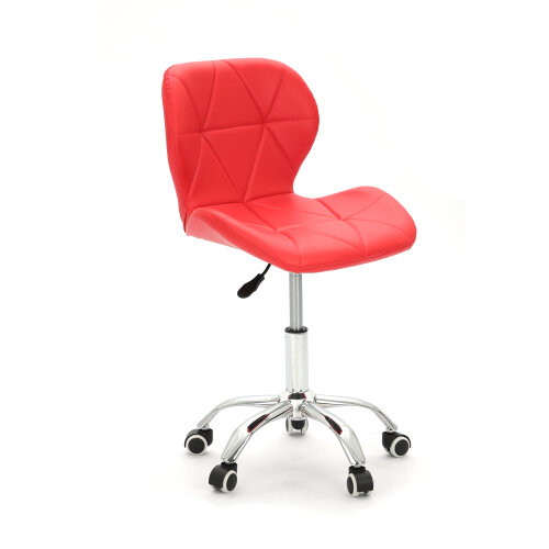 (Red) Adjustable Cushioned Computer Desk Chrome Legs Lift Swivel Small Office Chair