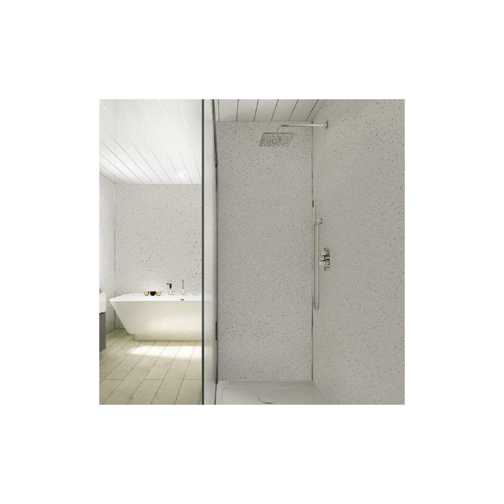 Light Grey Sparkle Shower Wall Panels 2.4m x 1m PVC ...