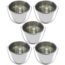 12 Litre Stainless Steel Handled Pail Bucket (Silver, Set of 5 Buckets)