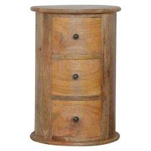Solid Mango Wood 3-Drawer Slim Drum Chest | Round Chest Of Drawers