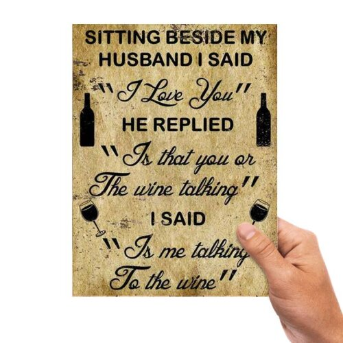 Funny Wine Wife Metal Sign Man Cave Retro Pub Bar Vintage Plaque Garage kitchen