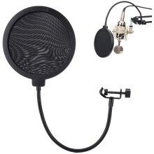 Mavis Laven Mic Pop Filter, Studio Recording Pop Shield with Clamp Spray Proof Cover 15.5cm