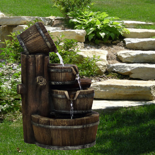 (Barrel Fountain) GEEZY Polyresin Water Fountains with LED Lights