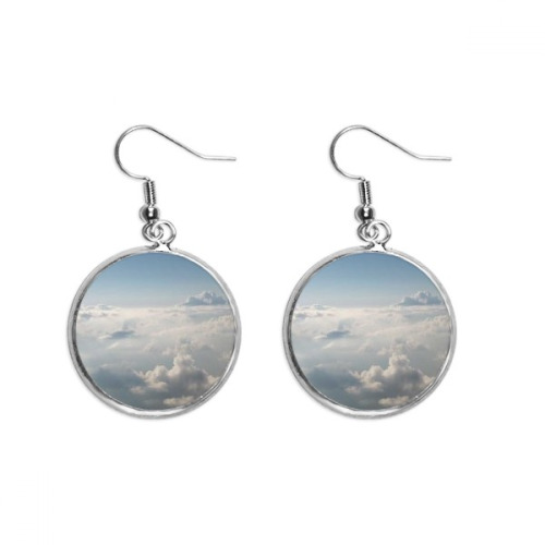 Grey Sky White Clouds Ear Dangle Silver Drop Earring Jewelry Woman